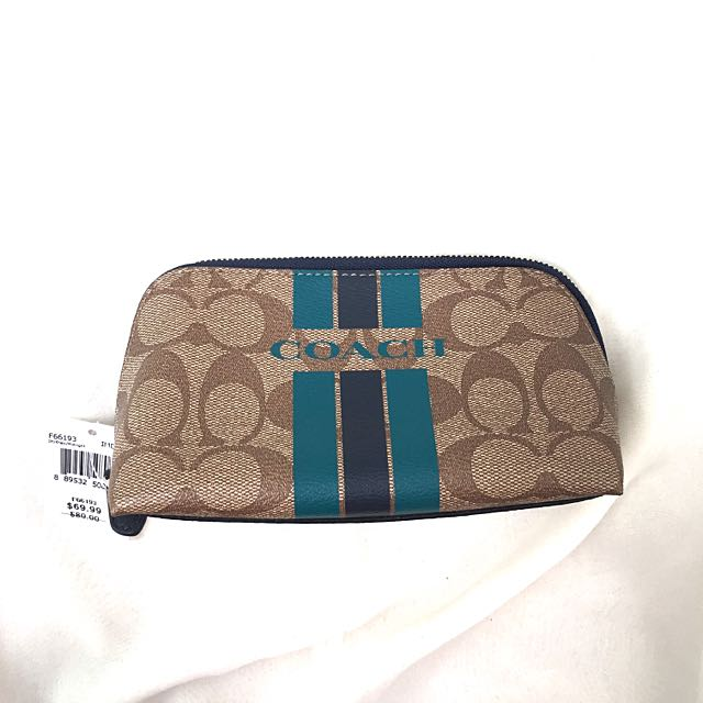 (New) Authentic Coach Navy Blue/Turquoise Cosmetic Pouch