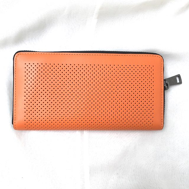 (New) Authentic Coach Perforated Orange Leather Long Purse