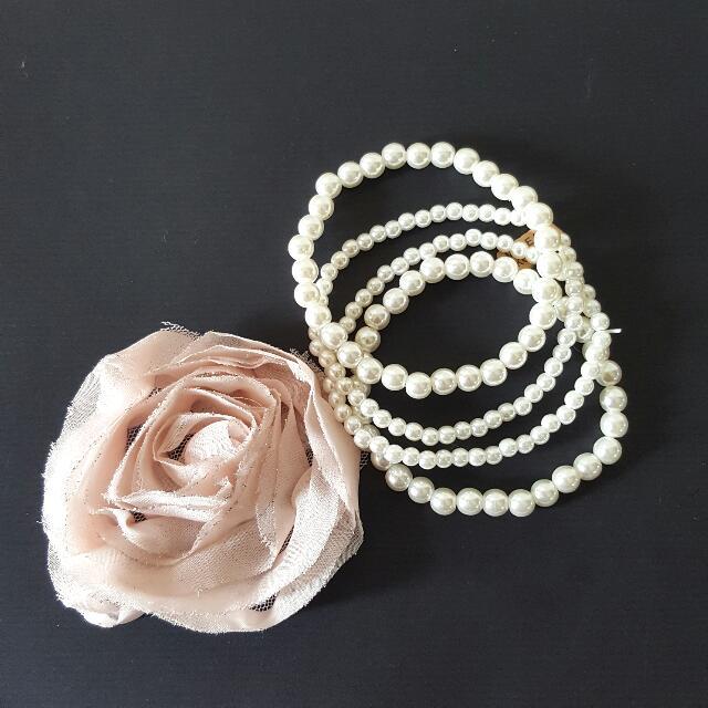 😍韓國帶回 花銷子+珍珠手鍊 一個200