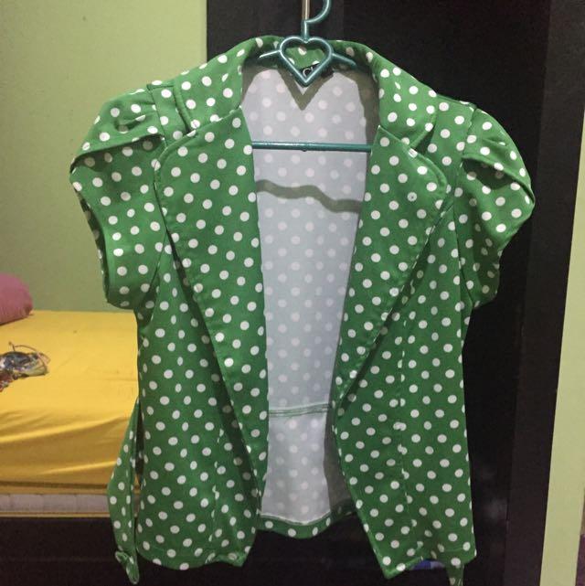 Green Blazer Polkadot