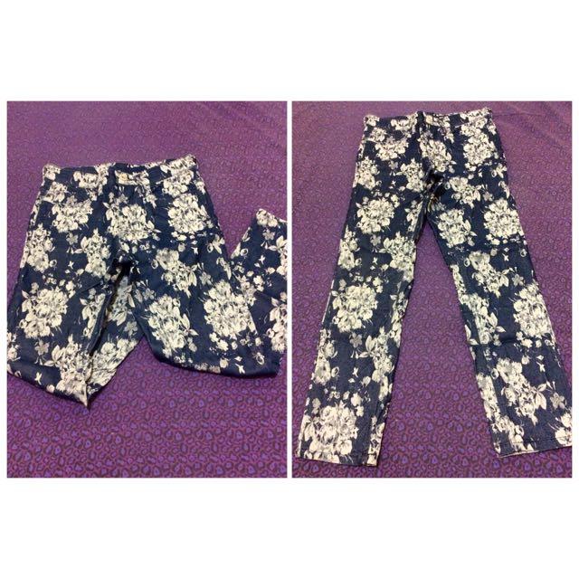 Hi-waist Floral Pants
