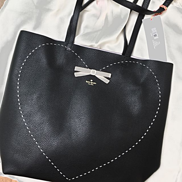 (New) Authentic Kate Spade Lea Tote Black/Pink Heartshape Leather