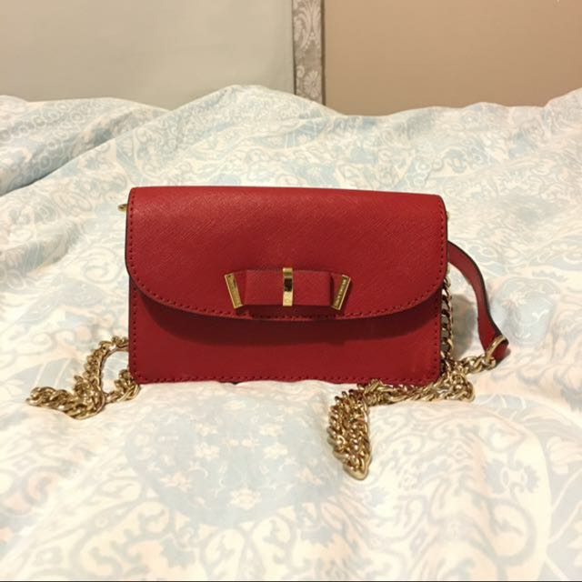 Michael Kors Saffiano Leather Red Bow Purse Chain Clutch Bag