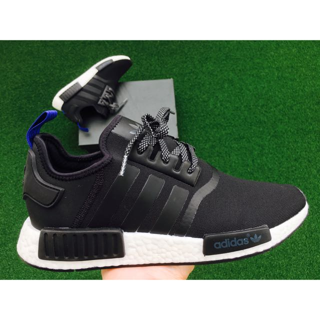 more photos 17da4 06113 Adidas NMD R1 Core Black S31515 Blue Heel Tab, Men's Fashion ...