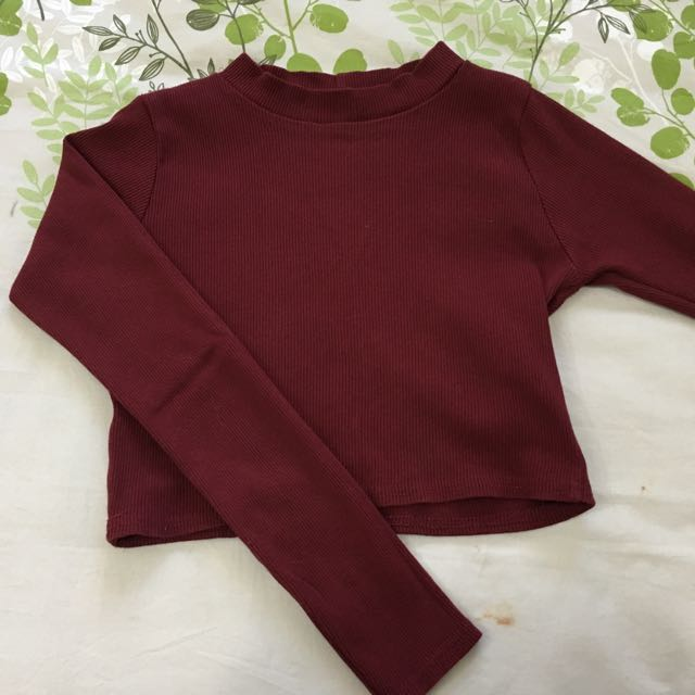 Red/wine/burgundy High Neck Ribbed Crop Top