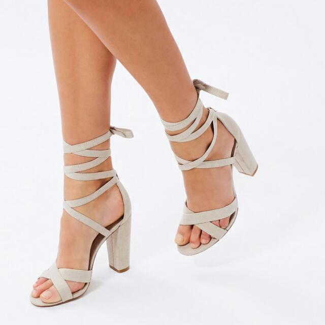 b1443226ec3 Spurr Lace Up Block Heels 8 Light Grey Beige Nude Microsuede BRAND ...