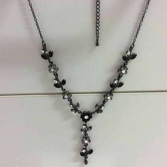 Vintage Art Deco Black Drop Necklace