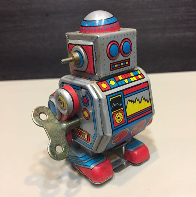 Vintage Mini Wind Up Tin Toy Robot
