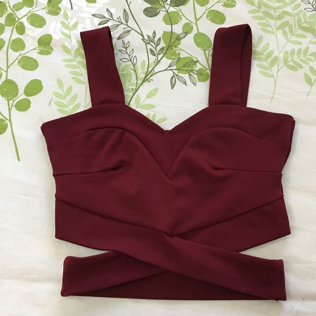Wine/burgundy/red Crop Top