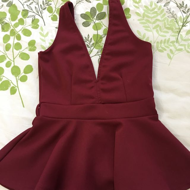 Wine/burgundy/red Plunge Low Back Peplum Top