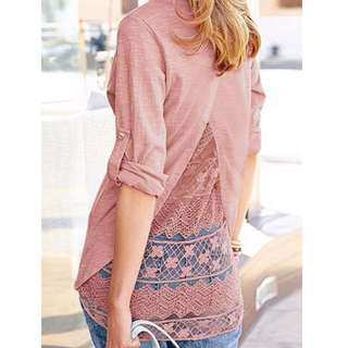 Back Split Lace Shirt