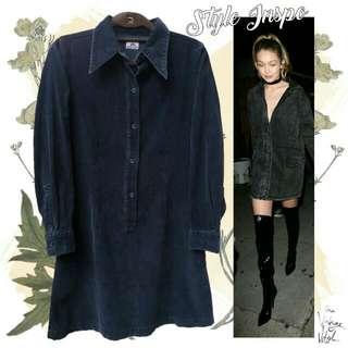 Black Corduroy Long Sleeve Dress