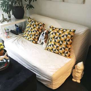 IKEA Double Bed Futon & White Futon Cover