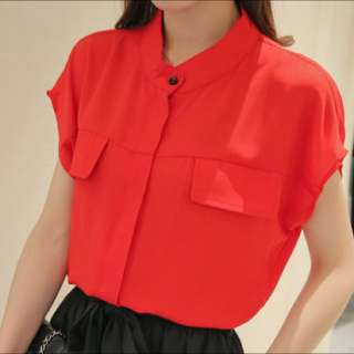 NEW: Stand Collar Chiffon Blouse