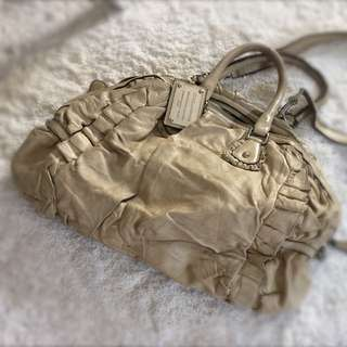Dolce and Gabbana Beige Distressed Leather Miss Rouche Satchel