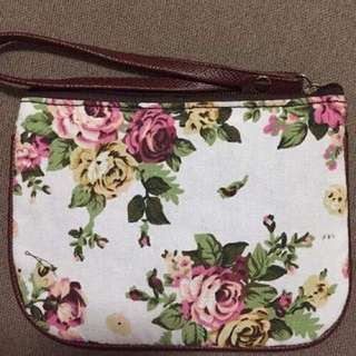White Floral Pouch