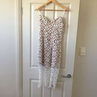 Size 10 - White Lace Dress With Nude Underlay