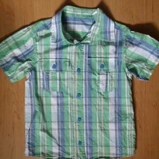 Pre-loved 100% Cotton Blue/Green Mothercare Shirt For Boys