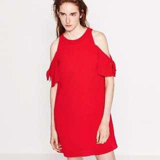 zara 紅色短版縐綢洋裝
