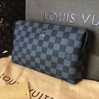 Louis Vuitton Black Damier Pouch Wallet Clutch Bag