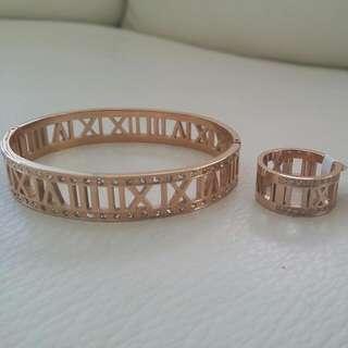 Tiffany And Co Bracelet Ring Set Rose Gold Finish