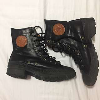 Converse Black Leather Combat Boots