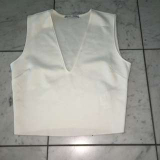 Zara White Silky Crop Size s