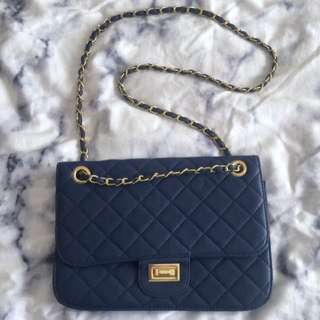 Navy Quilted Cross The Body Bag
