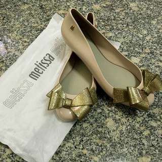 44517c5201 BN 2016AW Latest Authentic Melissa Shoes Beige With Gold Ribbon