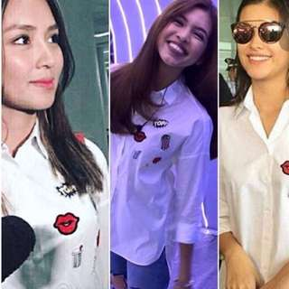 Button down white shirt with patch💟