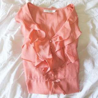 Sz 14 Peach Ruffle Dress