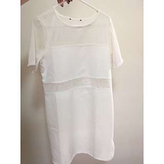 White Mesh Shift Dress