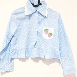 Comicou Blue Polka Crop Shirt