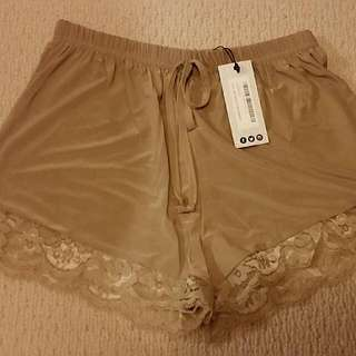 Sand Beige Shorts Lace Detailing Size 8-10