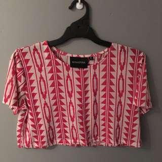 T-shirt Sleeve Mink Pink Crop Top - M