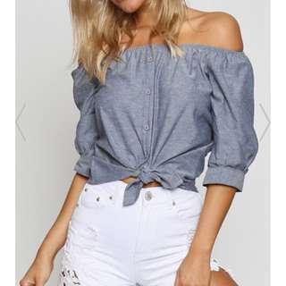 Off Shoulder Shirt Grey