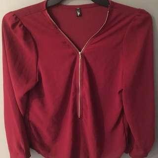 Long Sleeve Schiffon Top - XL