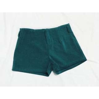 Green Velvet Shorts