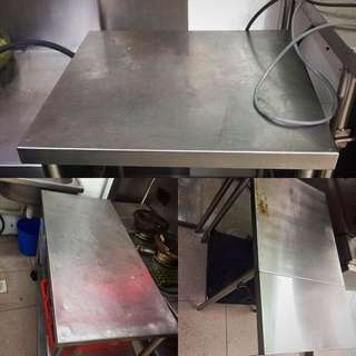 Multiple Stainless Steel Table Tops, Shelves, Food Display And Fridge