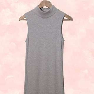 Grey Turtle Neck Long Dress