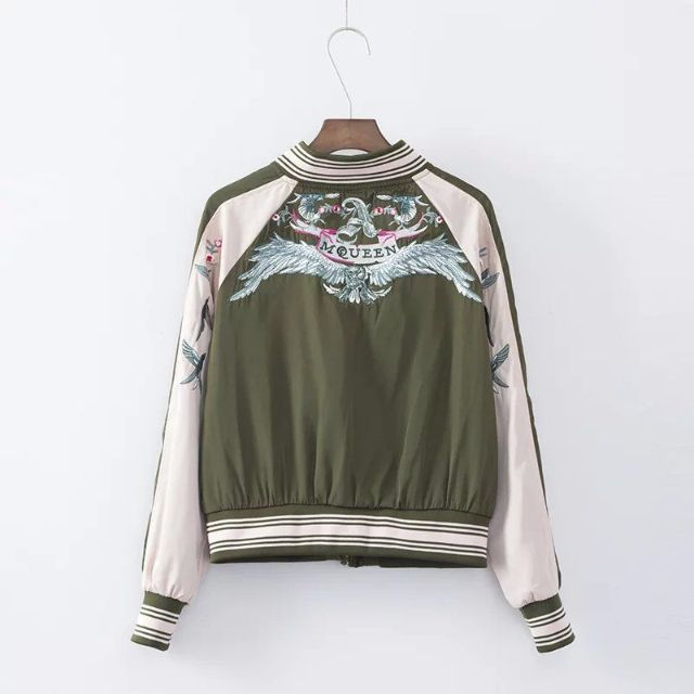41356 - Green Embriodery Bomber Jacket