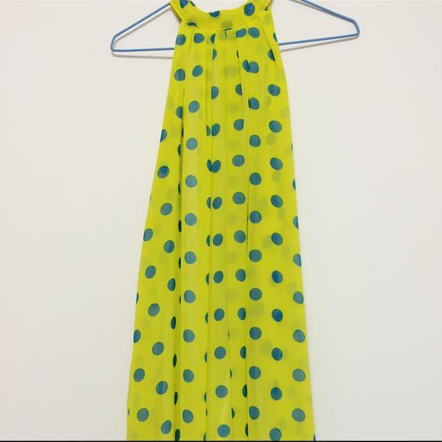 黃底藍色點點可愛洋裝