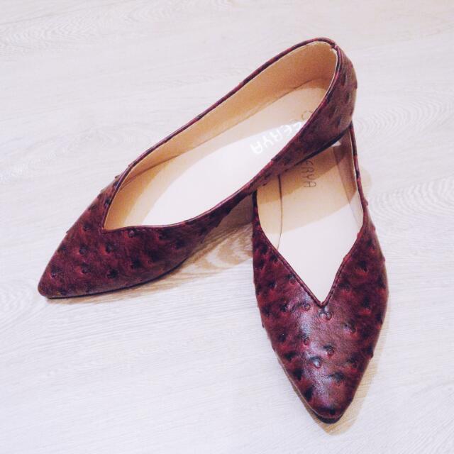 復古簡約時尚酒紅鱷魚皮革尖頭平底鞋
