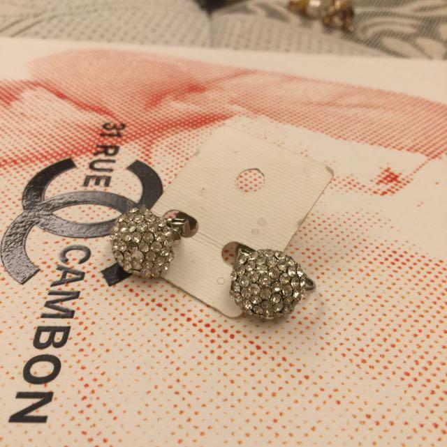二手轉賣水鑽耳夾 白鑽大圓球 螺旋夾 夾式耳環