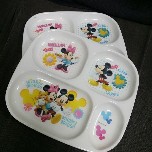 兒童盤子 兒童餐盤 米奇米妮 盤子 四格 分裝盤