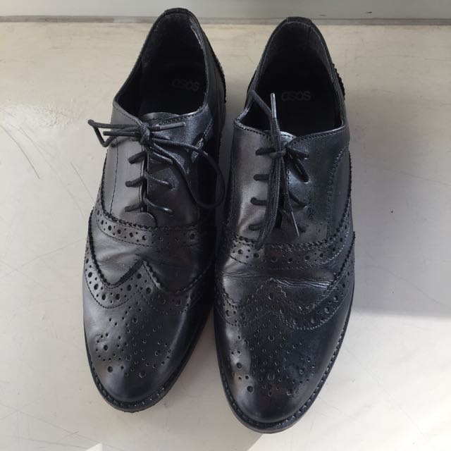Asos Black Brogues Size 6.5 UK / 8 Au