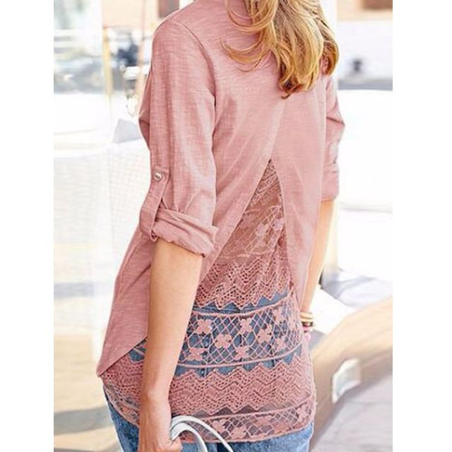 Back Split Lace Shirt
