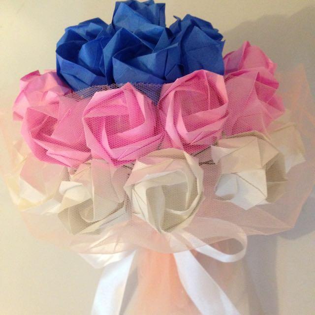 Buket Bunga Mawar Kertas Pink, Biru, Putih 30 Tangkai - Rose Paper Flower Pink Blue White - Origami