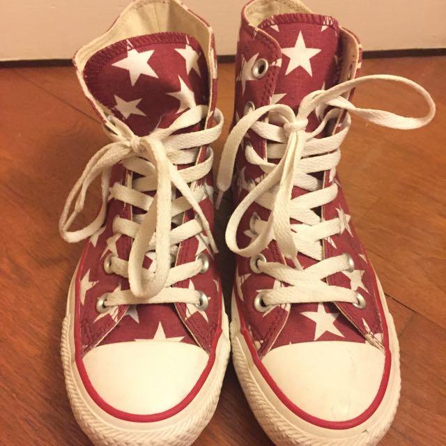 Converse 中筒 紅底白星星款