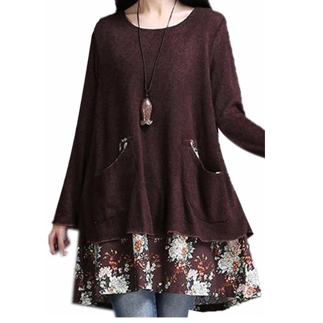 Double Layered Loose Pull Over Dress